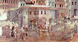 The Allegory of Good Government was painted for the town council in Siena by Ambrogio Lorenzetti