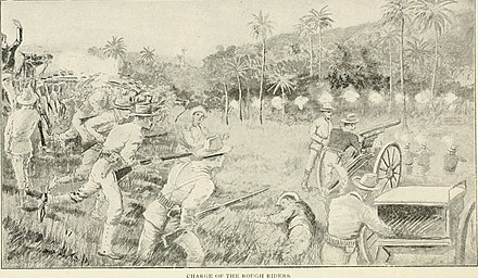 Charge of the Rough Riders America's war for humanity related in story and picture, embracing a complete history of Cuba's struggle for liberty, and the glorious heroism of America's soldiers and sailors (1898) (14591603718).jpg