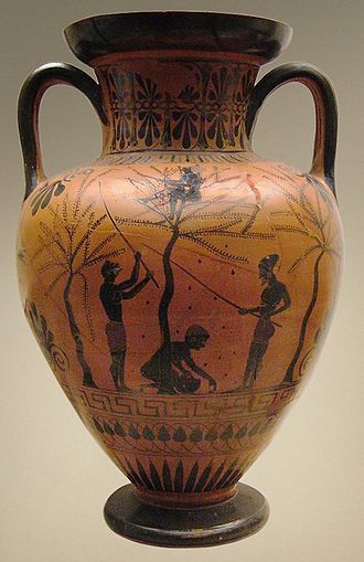 Slavery in ancient Greece - Agriculture, a common use for slaves, black-figure neck-amphora by the Antimenes Painter, British Museum