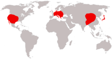 Range of Amynodontidae based on fossil record