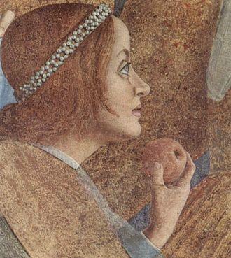 Leonhard of Gorizia - Paola Gonzaga, fresco by Andrea Mantegna, Ducal Palace, Mantua.