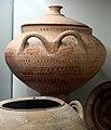Anfora con fregio di uccelli e geometrico, tipo philadelphia, dalla necropoli della padellara, 725-700 ac. ca.jpg