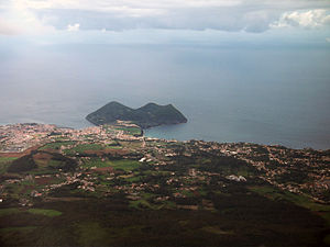 Monte Brasil - A view of Monte Brasil from the flanks of the Santa Bárbara volcano, showing the built-up urban sprawl of the city of Angra do Heroísmo
