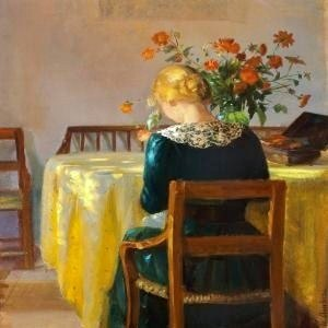 Anna Ancher-Interior With The Painter's Daughter Helga Sewing