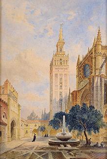 Acuarela de la Catedral y de la Giralda deSevilla(1884).