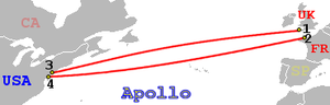 Apollo (cable system) - Image: Apollo Cable route