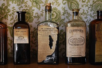 Country of origin - By the 19th century, formal labels featuring manufacturer name and place of manufacture had become relatively common. Picture Apothecary bottles