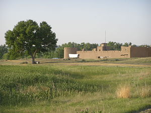 Bent's Old Fort National Historic Site - Approach to Bent's Old Fort, Colorado.  Wetlands protecting the north trail.