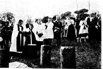 St George's Anglican Church, Eumundi - Archbishop Donaldson capping the first stump for the Church of England on St. George's Day, St George's Anglican Church, Eumundi, 1912