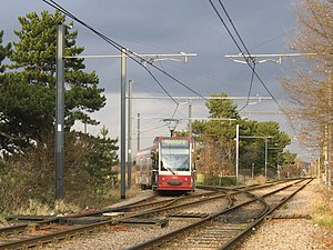 South Norwood - The junction to the north of Arena. This tram is entering South Norwood Country Park.