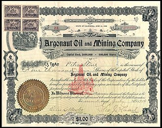 Stock certificate - Image: Argonaut Oil & Mining Co stock 1900 and rev stamps