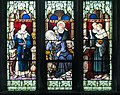 Armagh Roman Catholic Cathedral of St. Patrick West Aisle Window 03 Lower Lights St. Benignus places flowers on the sleeping St. Patrick 2013 09 24.jpg