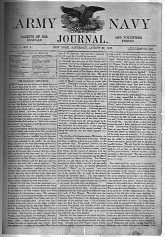 Armed Forces Journal - Page 1 of the first issue, published August 29, 1863