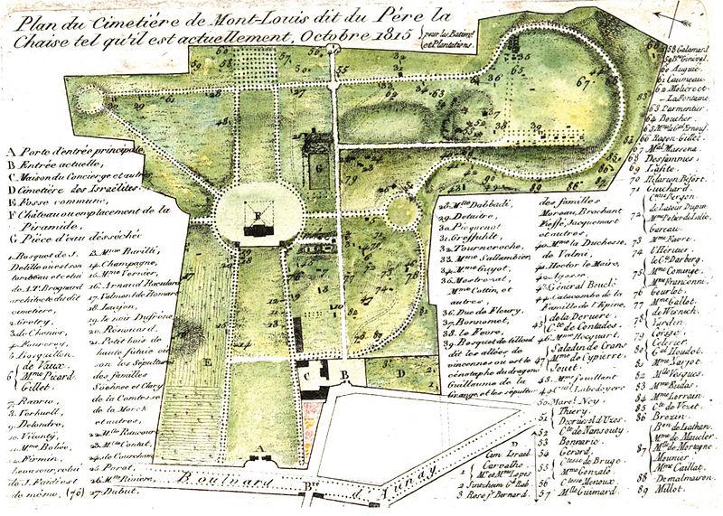 File:Arnaud - Recueil de tombeaux des quatre cimetières de Paris - Plan (colored).jpg