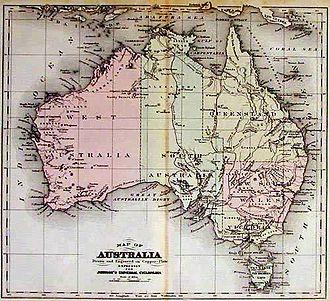 Frederick Augustus Porter Barnard - Australia map compiled by Arnold Henry Guyot and Frederick Augustus Porter Barnard