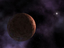Sedna, a red, icy globe, is barely lit by a distant Sun