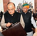 Arun Jaitley along with the Minister of State for Finance and Corporate Affairs, Shri Arjun Ram Meghwal arrives at Parliament House to present the General Budget 2017-18, in New Delhi.jpg