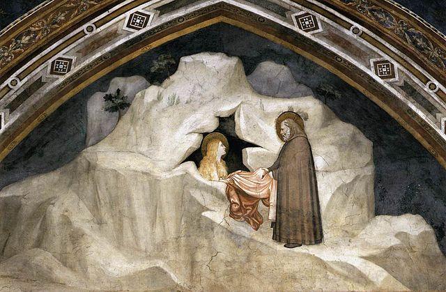 «Старец даёт гиматий Марии Магдалине». Фреска Джотто в капелле Магдалины нижней базилики Сан-Франческо в Ассизи, 1320-е.