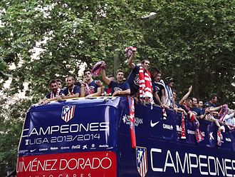 Adrián López - Adrián (farthest left) celebrating the 2013–14 La Liga with Atlético Madrid.