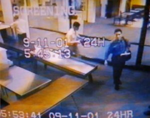 American Airlines Flight 11 - Atta (blue shirt) and Omari at Portland International Jetport, passing through security on the morning of 9/11