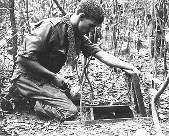 Tunnel rat - Australian soldier looking into a Viet Cong tunnel discovered during Operation Crimp, Vietnam.