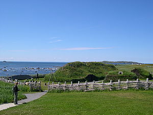 Medieval Warm Period -  L'Anse aux Meadows, Newfoundland, today, with a reconstruction of a Viking settlement.