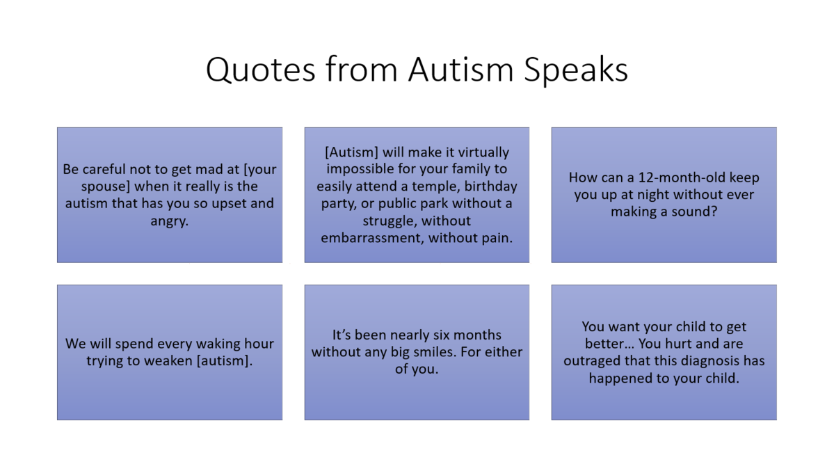 A graphic showing quotes from Autism Speaks; they are not readable at this small size