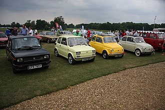 Fiat 126 - Fiat 126 (second from left) at the Auto Italia, Stanford Hall, 2010