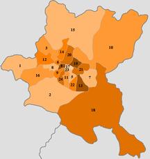 Sofia-Suddivisione amministrativa-BGR Област София locator map (label-number)