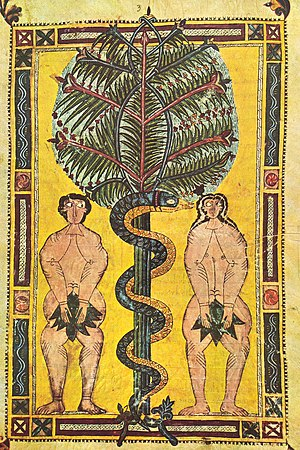 Original sin - Illuminated parchment, Spain, circa AD 950–955, depicting the Fall of Man, cause of original sin