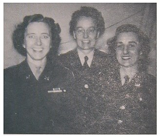 Myrtle Bachelder - Bachelder (center) at Los Alamos in 1946, with Captain Arlene Scheidenhelm, Director of WAC, Manhattan District (left), and First Lieutenant Marguerite Carrera, Commanding Officer, WAC Los Alamos detachment (right)