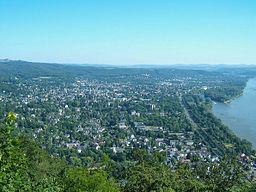 """Bad Honnef seen from the Drachenfels (""""Dragon's Rock"""")."""