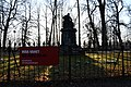 Baer monument with COVID-19 warning sign 1.jpg