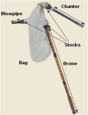 Gaida - On this Serbian gajde, the chanter is the short gray pipe at the top, while the drone is the long three-section pipe.