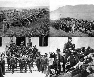 First Balkan War - Clockwise from top right: Serbian forces entering the town of Mitrovica; Ottoman troops at the Battle of Kumanovo; the Greek king and the Bulgarian tsar in Thessaloniki; Bulgarian heavy artillery
