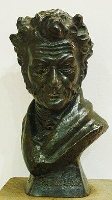 Buste en bronze d'Hoffmann exposé au théâtre de Bamberg. L'auteur semble esquisser un sourire espiègle.