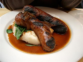 Comfort food - Bangers and mash is a British comfort food.
