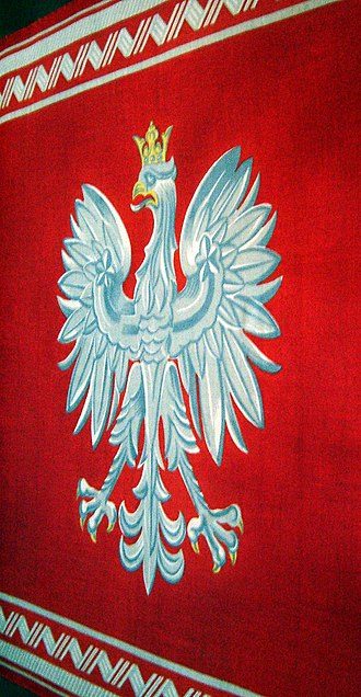 Jack of the President of the Republic of Poland - Banner of the Republic on display in the Royal Castle in Warsaw