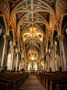 The Basilica of the Sacred Heart, completed in 1888 Basilica of the Sacred Heart, University of Notre Dame.JPG