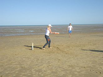Backyard cricket - In this example the tide is out and so the field of play is greatly increased.