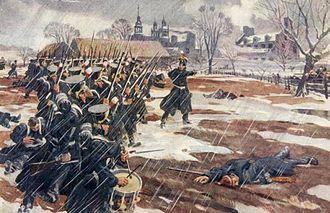 """Battle of Saint-Denis (1837) - """"Les Fils de la Liberté"""" hurl back British regulars at the  Battle of Saint-Denis.  Contemporary watercolour."""