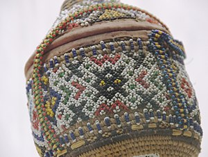 Beadwork - Ethiopian beadwork on basket, from the ethnographic collection of the National Museum, Addis Ababa