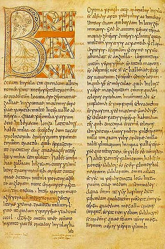 A page of Bede's Ecclesiastical History of the English People Beda Petersburgiensis f3v.jpg
