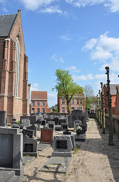 Cemetery of the Parish church of the Holy Elizabeth of Hungary, in Zoersel (Antwerp province, Belgium).