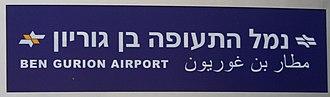 Ben Gurion Airport railway station - Image: Ben Gurion Airport Train Station sign