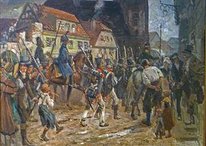 Spandau Citadel - French troops leaving Spandau on 27 April 1813; oil painting (1913) by Carl Röhling