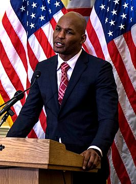 Bernard Hopkins making a speech at the United States Capitol, Feb. 2014.jpg