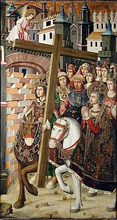 15th century, Spanish, medieval painting showing Heraclius on a horse returning the True Cross to Jerusalem, anachronistically accompanied by Saint Helena