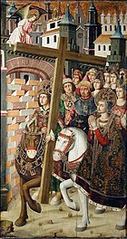 King Heraclius triumphantly returns the Holy Cross to Jerusalem on a brown horse accompanied by a host of figures both laypeople, clergy, and women. Saint Helena is prominently but anachronistically depicted on a white horse. An angel looks on above.