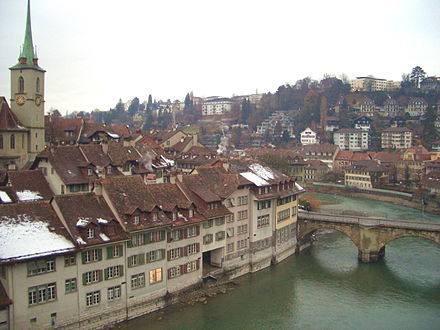 Capital city of Bern with the Aare, Gothic Nydeggkirche on left Bernriver.jpg